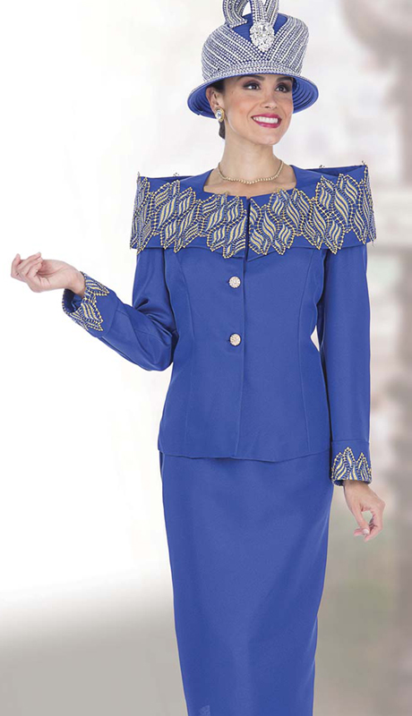 Elite Champagne 5270 ( 2pc Renova Womens Church Suit With Embellished Jacket and Rhinestone Buttons )