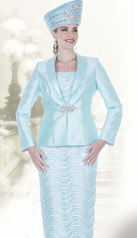 Elite Champagne 5212 ( 3pc Exclusive Satin Womens Church Suit With Striped Wave Pattern, And Jacket With Rhinestone Clasp )