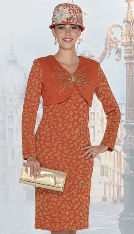 Elite Champagne 4959 ( 1pc Exclusive Knit Ladies Sunday Dress With Animal Pattern And Rhinestone Embellishment )