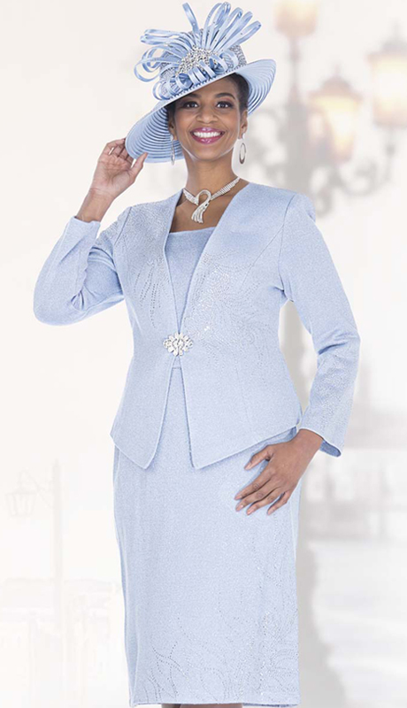 Elite Champagne 5158 ( 2pc Exclusive Knit Womens Church Suit With Unique Rhinestone Jacket With Skirt )