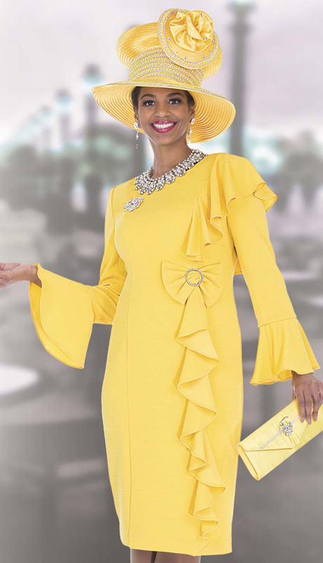 Elite Champagne 5267 ( 1pc Exclusive Brocade Dress With Side Cascading Ruffle Drape, For Woman Church Sunday Dress )