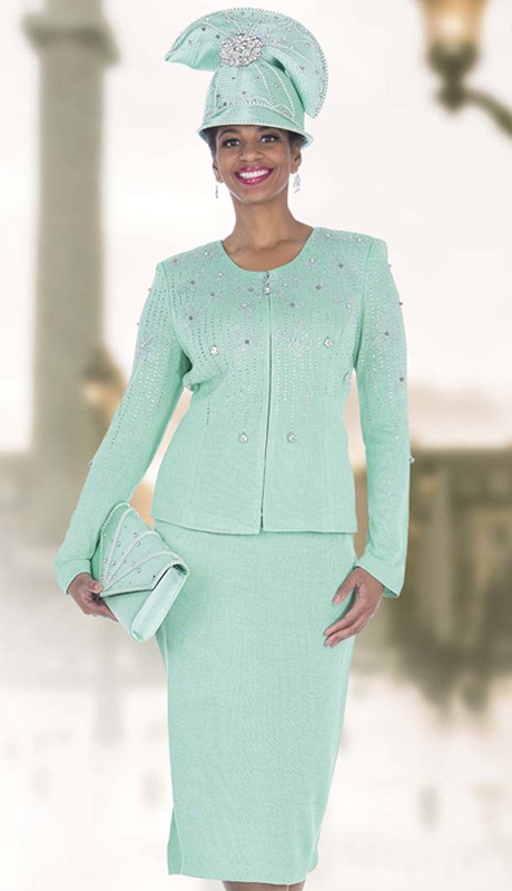 Elite Champagne 5060 ( 2pc Exclusive Knit Womens Church Suit With Unique Rhinestone Leaf Patterned Jacket With Skirt )