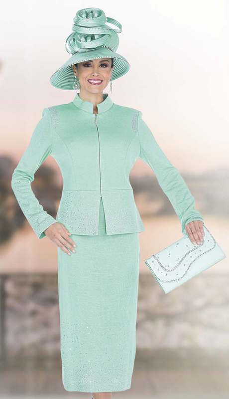 Elite Champagne 5054 ( 2pc Exclusive Embellished Knit Suit With Rhinestones For the First Lady )