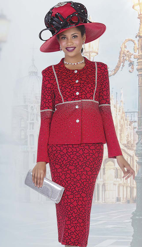 Elite Champagne 4960-R ( 2pc Exclusive Knit Ladies Church Suit With Geometric Pattern And Rhinestone Detail Jacket And Skirt )
