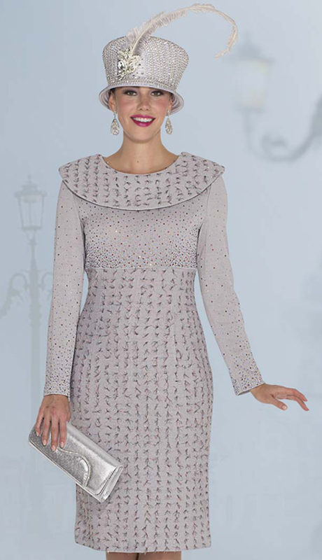 Elite Champagne 4964 ( 1pc Exclusive Knit Ladies Church Dress With Multi-Color Rhinestones And Fabric Textured With Metallic Thread )