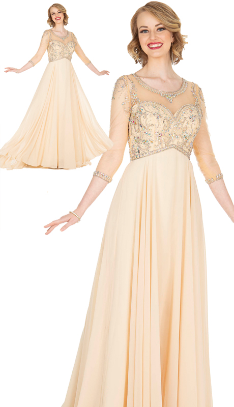 Elite Champagne 5414 ( 1pc PeachSkin And Chiffon Dress With Beading )