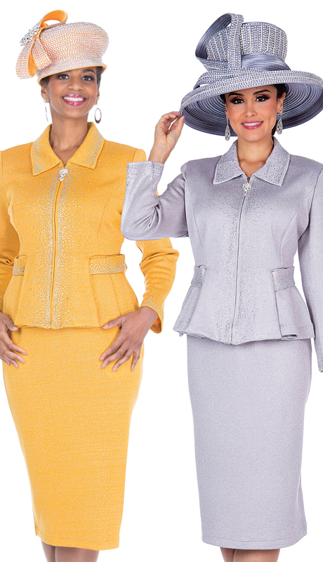 Elite Champagne 5154 ( 2pc Exclusive Knit Ladies Sunday Suit )