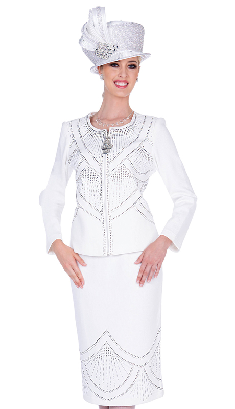 Elite Champagne 5354-OW ( 3pc Boucle Knit Womens First Lady Suit )