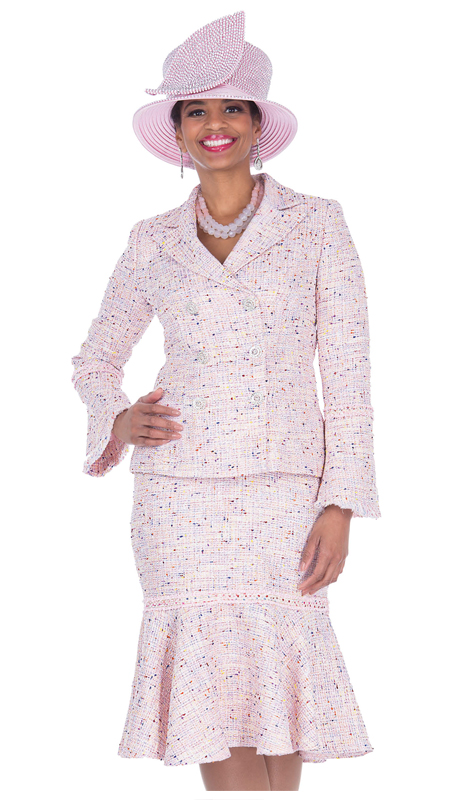 Elite Champagne 5255-PI ( 2pc Brocade Knit Womens Suit For Sunday )