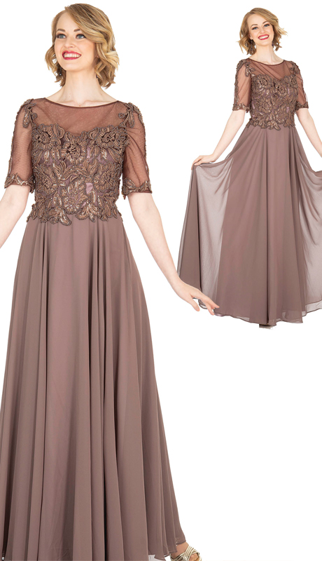 Elite Champagne 5413 ( 1pc PeachSkin And Chiffon Dress With Beading )