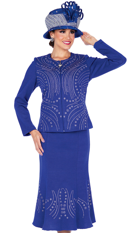 Elite Champagne 5356-RB ( 2pc Exclusive Knit Ladies Church Suit )