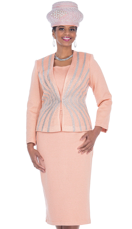 Elite Champagne 5157-AP ( 2pc Exclusive Knit Ladies Sunday Suit )