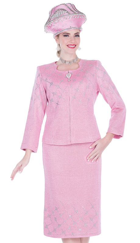 Elite Champagne 5160-PM ( 2pc Exclusive Knit Ladies Church Suit )