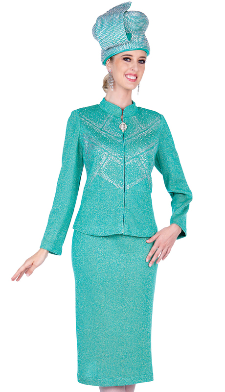 Elite Champagne 5353-GR ( 2pc Exclusive Knit Ladies Suit For Church )