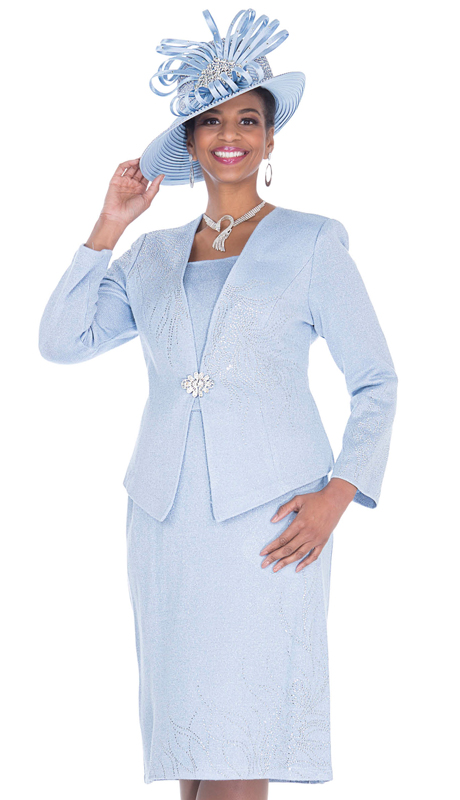 Elite Champagne 5158-CB ( 3pc Exclusive Knit Womens Church Suit )
