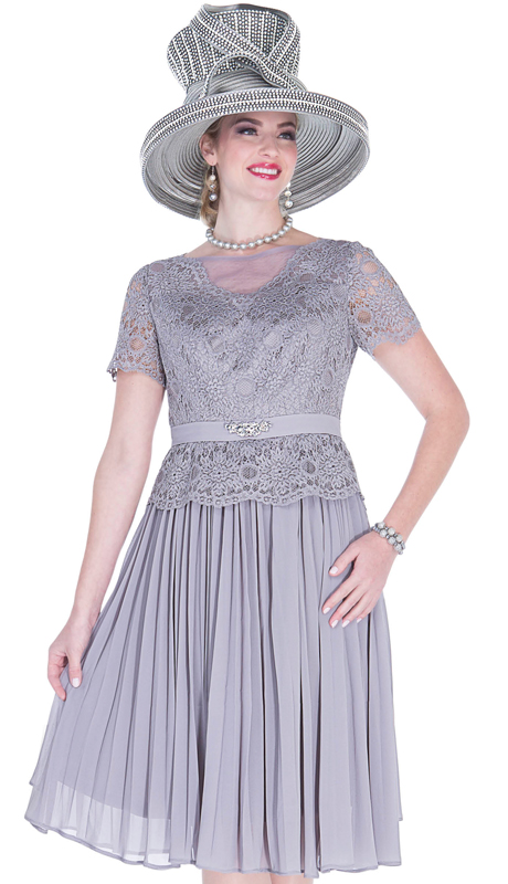 Elite Champagne 5262-SG ( 1pc Novelty Lace And Chiffon Ladies Church Dress )