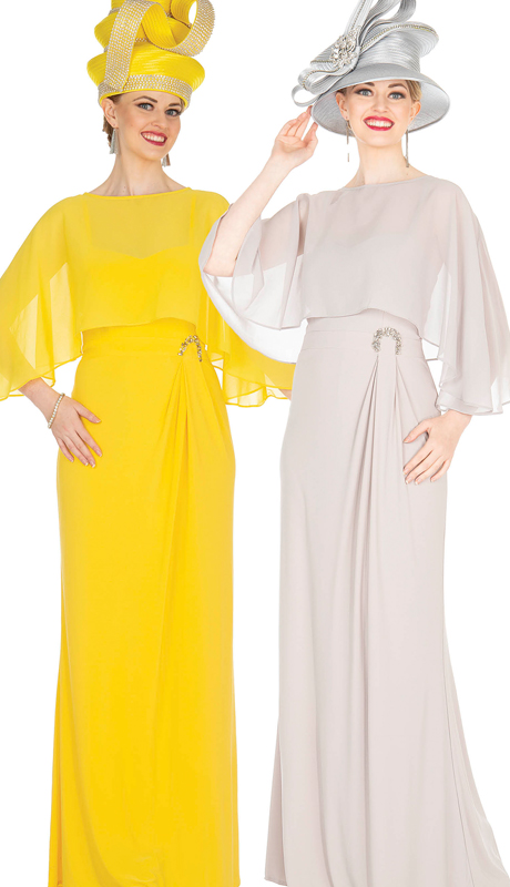 Elite Champagne 5362 ( 2pc PeachSkin Chiffon Womens Special Occasion Dress )