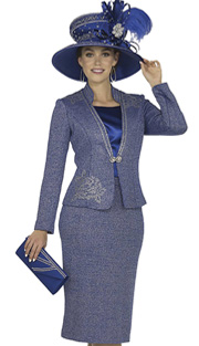 Elite Champagne 4868 ( 3pc Exclusive Knit Church Suit With Jacket, Vest And Skirt With Rhinestone Embellishment And Floral Design )