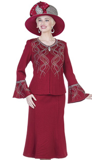 Elite Champagne 5162 ( 2pc Exclusive Metallic Knit Ladies Church Suit With Jacket And Midi Skirt, Flounce Sleeve And Cascading Rhinestone Detail )