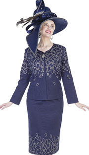Elite Champagne 5159 ( 2pc Exclusive Knit Ladies Church Suit With Zipper Front Jacket And Skirt With Leaf-like Pattern In Rhinetsones )