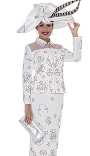 Elite Champagne 4958 ( 2pc Exclusive Metallic Knit Ladies Church Suit With Jacket, Skirt And Rhinestones In Floral Pattern )