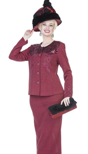 Elite Champagne 4954 ( 2pc Exclusive Metallic Knit Ladies Church Suit With Button Front Jacket Skirt And Floral Pattern In Rhinestone )
