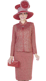 Elite Champagne 4866 ( 2pc Exclusive Knit Womans Church Suit Zipper Front Jacket And Swirl Pattern With Skirt )