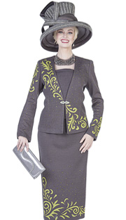 Elite Champagne 4952 ( 2pc Exclusive Knit Ladies Church Suit, Jacket And Skirt With Scroll Design And Rhinestones )