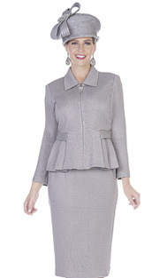 Elite Champagne 5154 ( 2pc Exclusive Knit Womens Church Suit With Pleated Peplum And Zipper Front Jacket With Skirt )