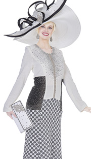 Elite Champagne 5051 ( 1pc Exclusive Knit Womens Church Dress With Cascading  Rhinestones And Color Block With Polka-dot Pattern )
