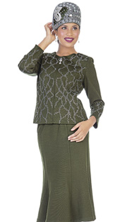 Elite Champagne 5153 ( 2pc Exclusive Knit Ladies Church Suit With Zipper Front And Rhinestone Pattern Jacket, Paneled Midi Skirt With Flare Hem )