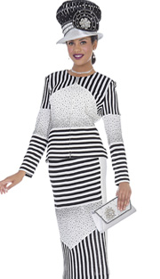 Elite Champagne 5061 ( 2pc Exclusive Knit Womens Church Suit With Striped, Rhinestone Detailed Jacket And Midi Skirt )