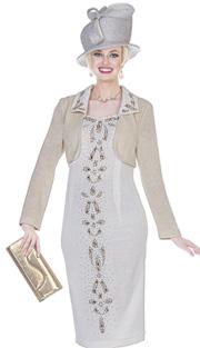 Elite Champagne 4963 ( 2pc Exclusive Knit Church Dress With Bolero Jacket And Multi-Sized Rhinestone Patterned Dress )