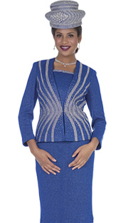 Elite Champagne 5157 ( 2pc Exclusive Knit Womens Church Suit With Stripe Pattern In Rhinestones With Skirt )