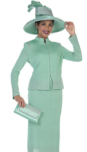 Elite Champagne 5054 ( 2pc Exclusive Metallic Knit With Zipper Front Jacket And Skirt, Ladies Church Suit )