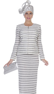 Elite Champagne 5059 ( 2pc Exclusive Knit Womens Church Suit With Striped Pattern , Zipper Front Jacket And Skirt )