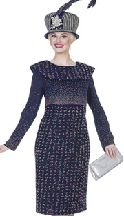 Elite Champagne 4964 ( 1pc Exclusive Knit Ladies Church Dress With Multi-color Rhinestone And Metallic Thread Details )