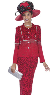Elite Champagne 4960 ( 2pc Exclusive Knit Ladies Church Suit With Geometric Pattern And Rhinestone Detail Jacket And Skirt )