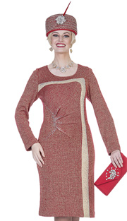 Elite Champagne 4871 ( 1pc Exclusive Knit Ladies Church Dress With Pleated Cinched Waist )