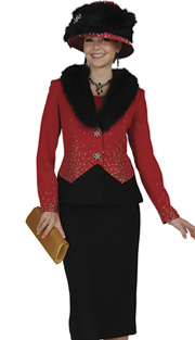 Elite Champagne 4652 ( 2pc Exclusive Knit Womens Church Suit With Genuine Fox Fur Collar On Jacket, Pinwheel Design Buttons And Skirt )