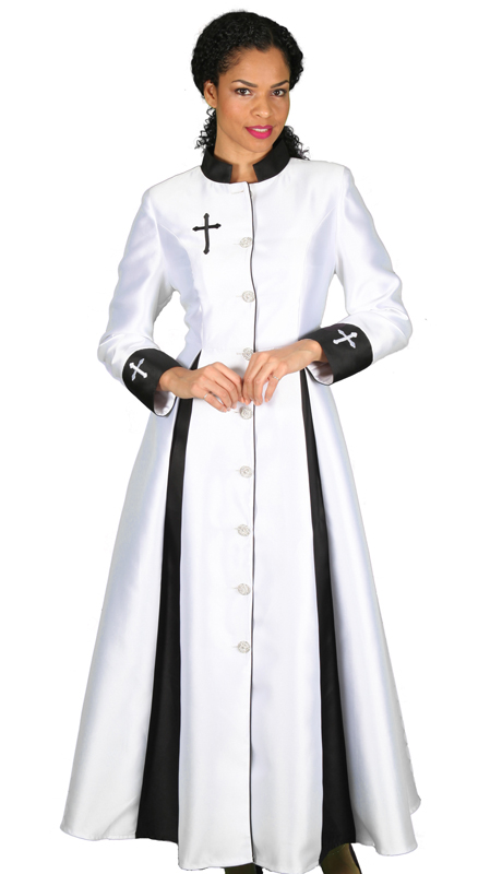 Diana Couture 8521-WB ( 1 pc Silk Womens Sunday Robe With Beautiful Cross Embroidery )