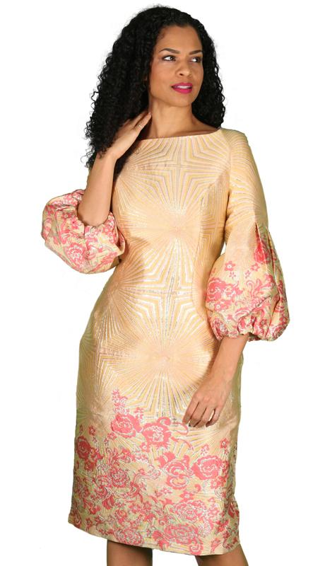 Diana Couture 8532-GF ( 1pc Brocade Ladies Church Dress )
