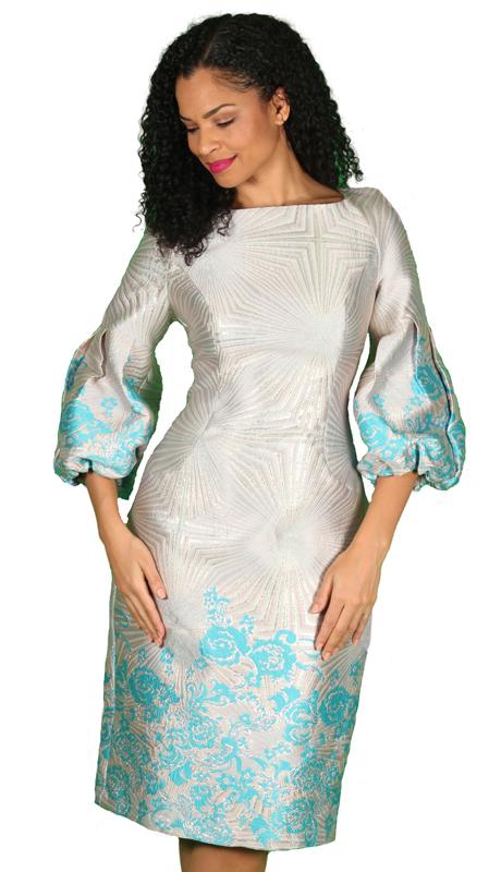 Diana Couture 8532-ST ( 1pc Brocade Ladies Church Dress )