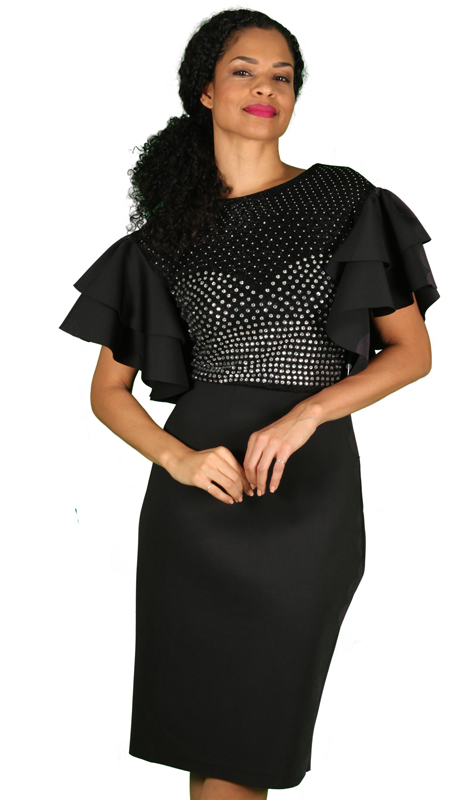 Diana Couture 8535-BLK ( 1pc Scuba Knit Ladies Church Dress With Layered Short Sleeves )