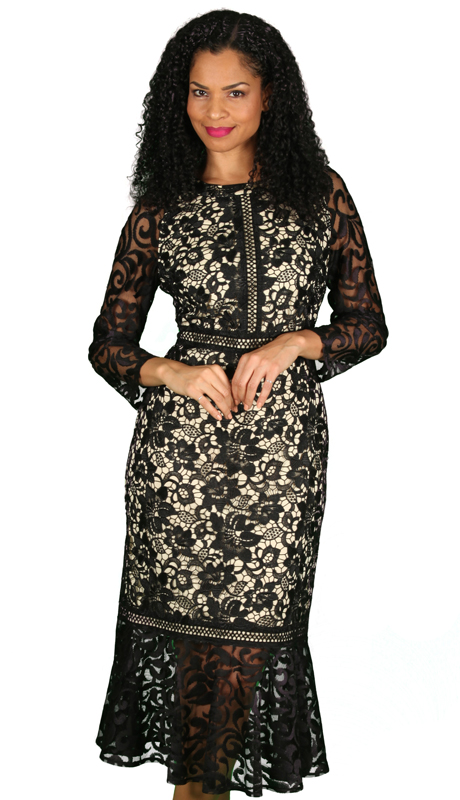 Diana Couture 8551-BLK ( 1pc Ladies Sunday Dress With Ornate Lace Design )