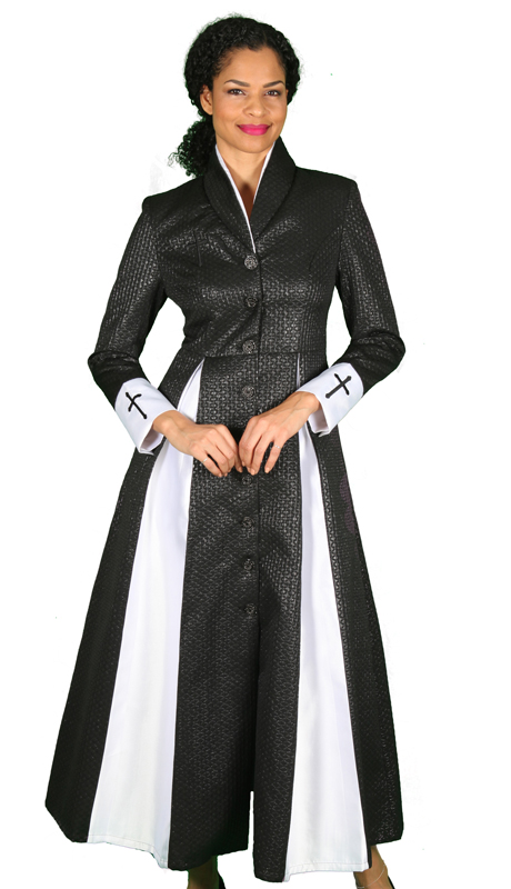 Diana Couture 8556-BLK ( 1 Pc Silk With Brocade Womens Sunday Robe For Church )