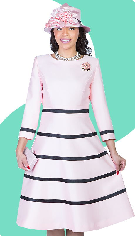 Ella Belle 1446-PB  ( 1pc Silk Look Women Church Fit And Flare Dress With Stripe Design And Rhinestone Brooch )