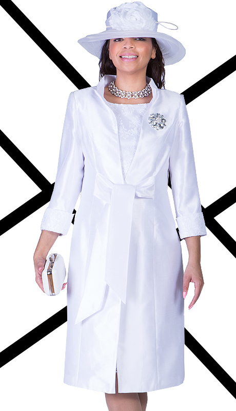 Ella Belle 0840-WHT  ( 2pc Shantung With Lace Ladies Church Dress  With Rhinestones Brooch )