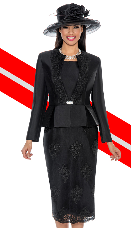 Ella Belle 0844-BLK  ( 3pc Silk Look With Lace Ladies Church Suit With Rhinestone Embellished, Pleated Peplum Jacket, Cami And Skirt )