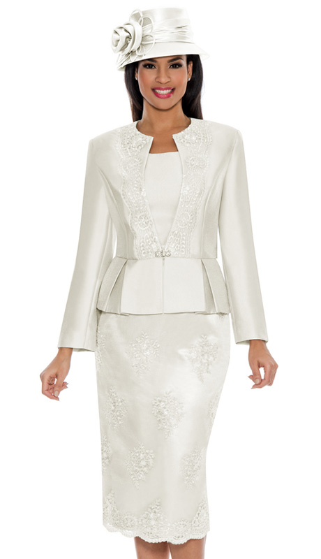 Ella Belle 0844-IV ( 3pc Silk Look With Lace Ladies Church Suit With Rhinestone Embellished, Pleated Peplum Jacket, Cami And Skirt )